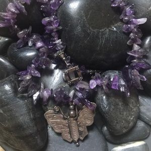 Vintage amethyst silver butterfly stone necklace
